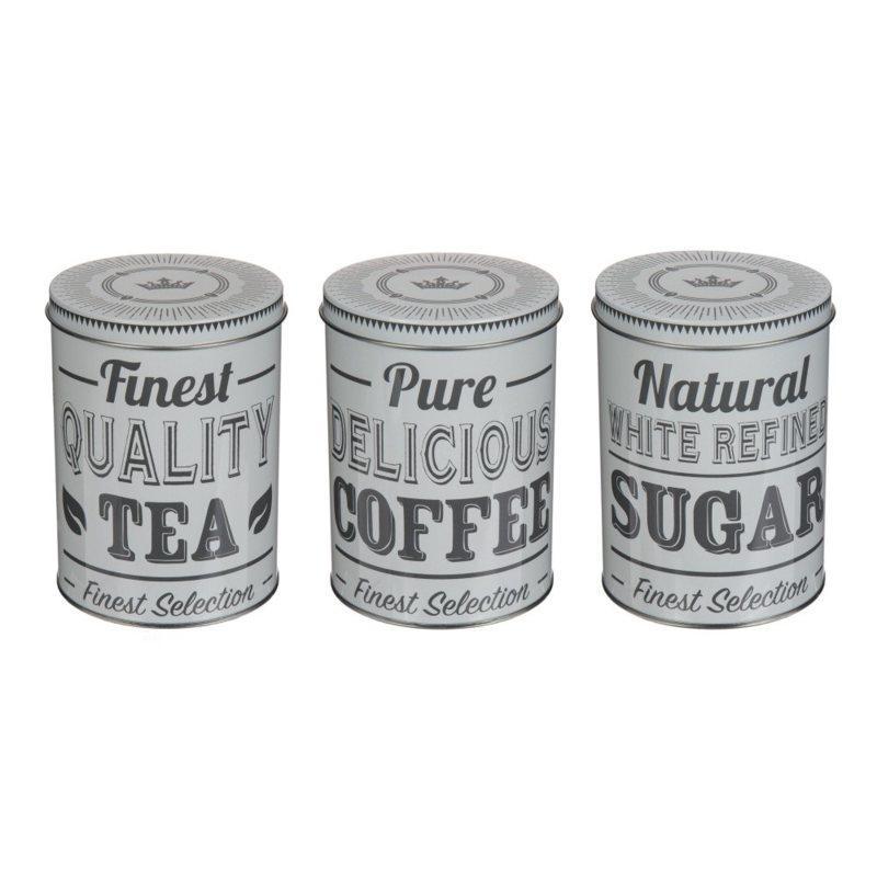 Kovová plechovka na kávu, čaj a cukor, 3ks