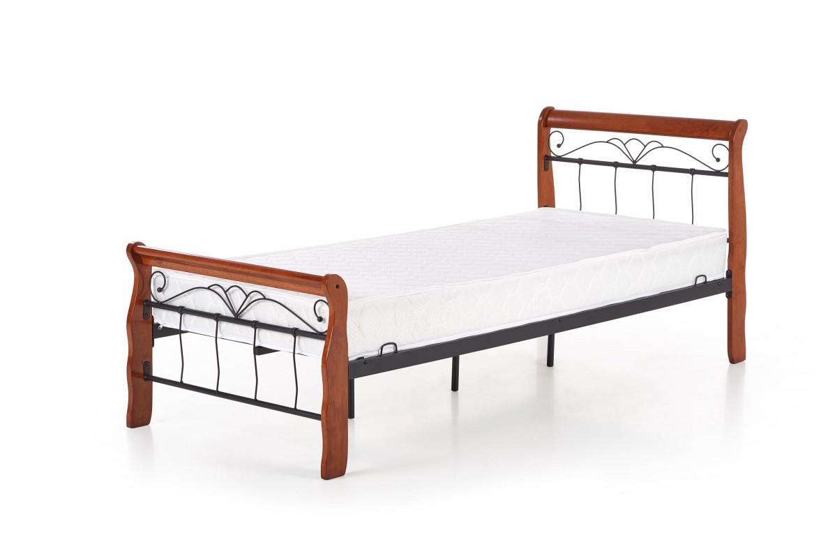 Kovová posteľ Veronica 90x200 jednolôžko antická čerešňa / čierna