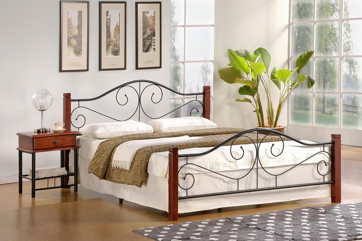 Kovová posteľ Violetta 140x200 dvojposteľ antická čerešňa / čierna