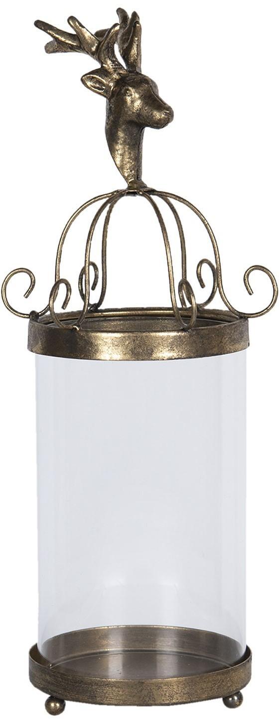 Kovová zlatá lampáš s jeleňom - Ø 15 * 39 cm