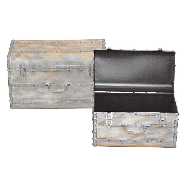 Kovový kufor béžový antik