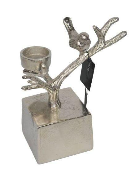 Kovový strieborný svietnik Ptáček - 22 * 12 * 24cm