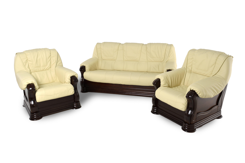 Kožená sedacia súprava Baron LUX 3 + 1 + 1 - béžová s tmavým drevom (K11 / 6)