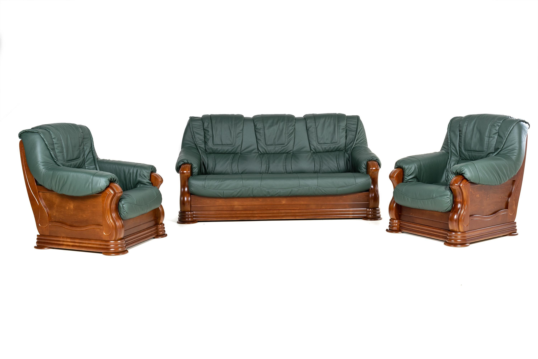 Kožená sedacia súprava Baron LUX 3 + 1 + 1 - zelená s hnedým drevom