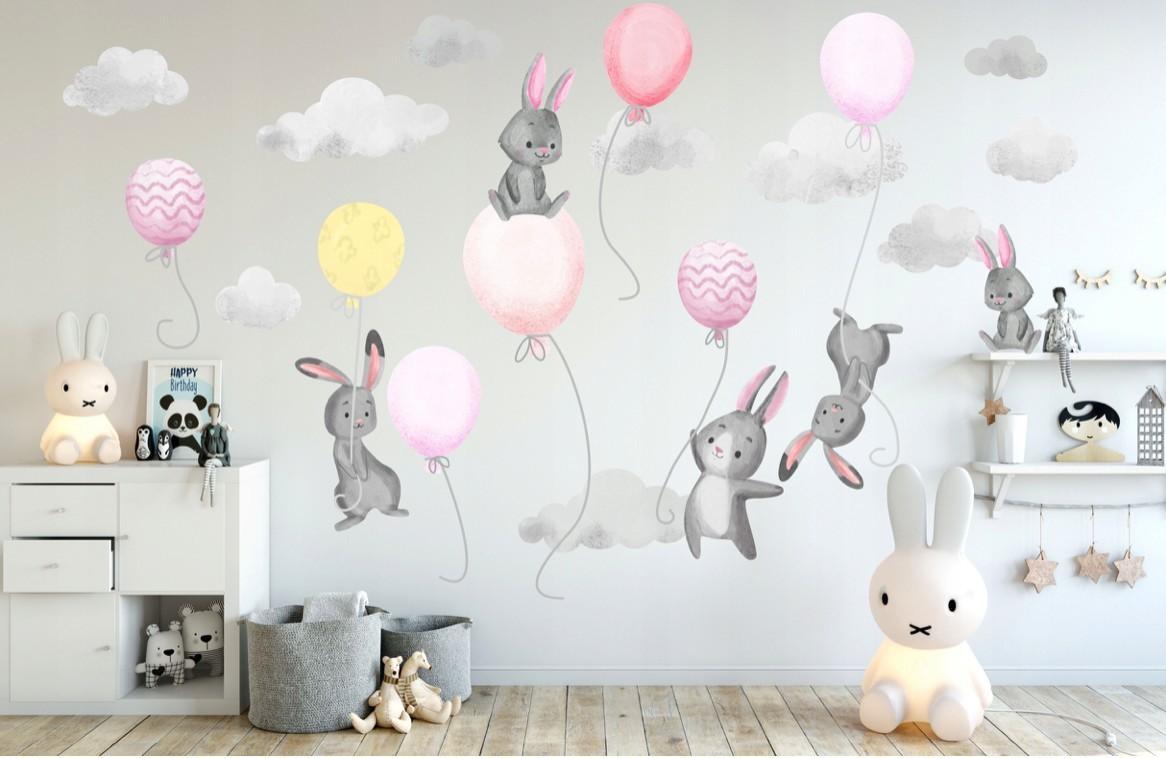 DomTextilu Krásna ružová nálepka na stenu pre dievčatko lietajúci zajačikovia 60 x 120 cm 46575 Ružová