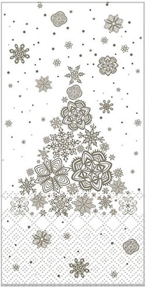 Krémovo -šedé papierové obrúsky Christmas tree - 40 * 40 cm (15ks)