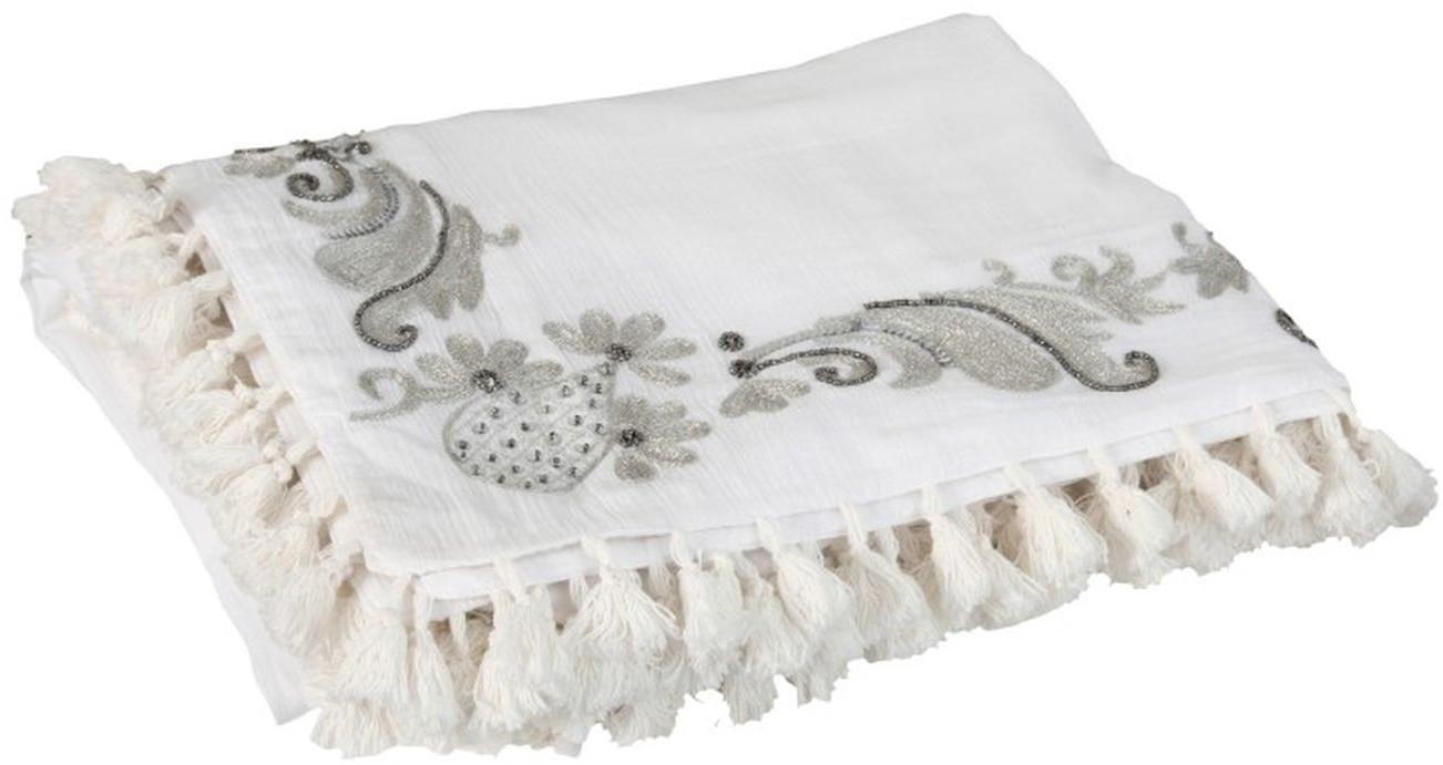 Krémový bavlnený pléd Moroccan so strapcami - 130 * 180 cm