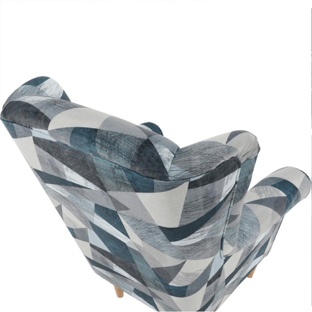 Kreslo ušiak, látka sivo-modrý vzor, CHARLOT