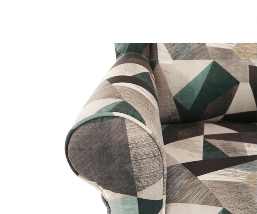 Kreslo ušiak s taburetom, látka hnedo-zelená vzor, ASTRID