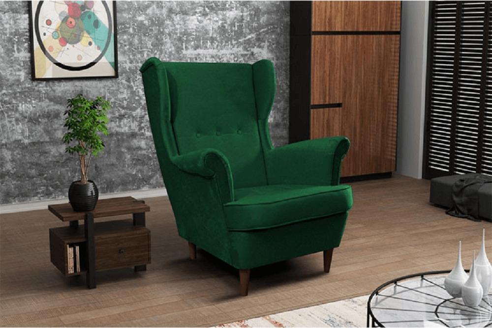 Kreslo ušiak, zelená/orech, RUFINO