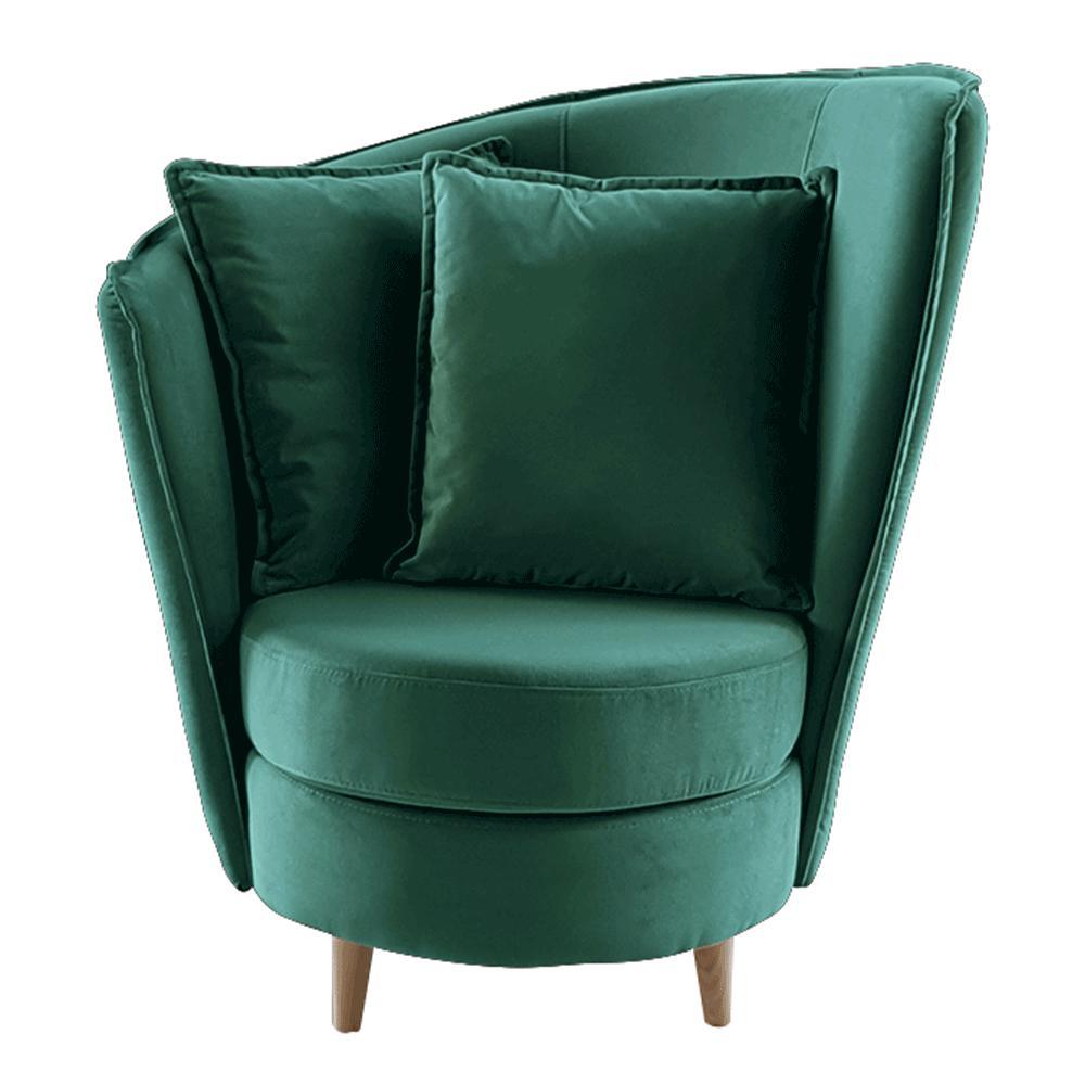 Kreslo v štýle Art Deco, smaragdová Kronos látka/dub, ROUND NEW
