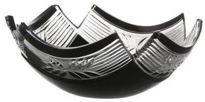 Krištáľová misa Laurel, farba čierna, priemer 230 mm