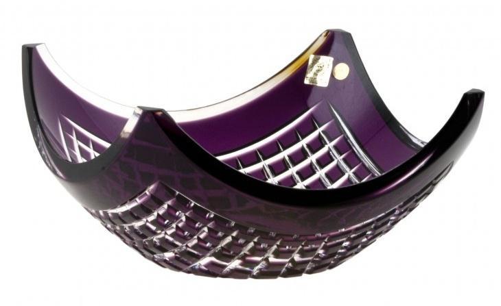 Krištáľová misa Quadrus, farba fialová, priemer 280 mm