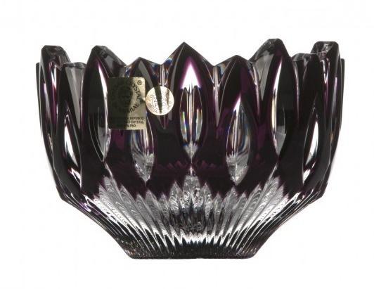 Krištáľová miska Flame, farba fialová, priemer 110 mm
