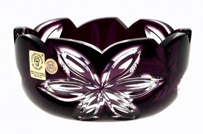Krištáľová miska Linda, farba fialová, priemer 116 mm