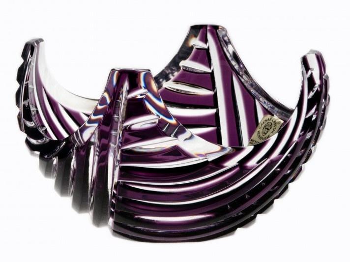 Krištáľová miska Linum, farba fialová, priemer 140 mm