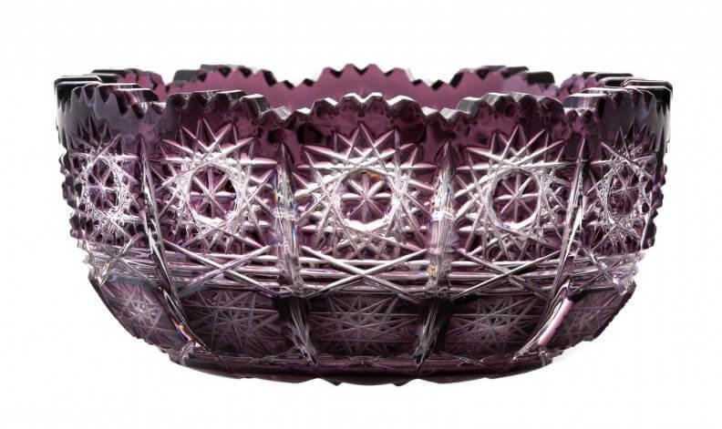 Krištáľová miska Paula, farba fialová, priemer 116 mm