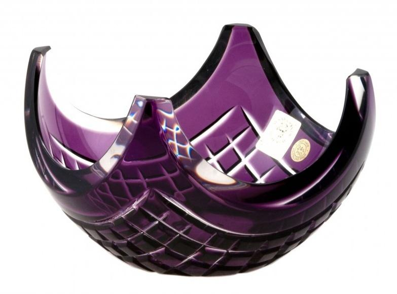 Krištáľová miska Quadrus, farba fialová, priemer 140 mm