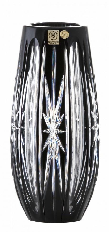 Krištáľová váza Spark, farba čierna, výška 230 mm