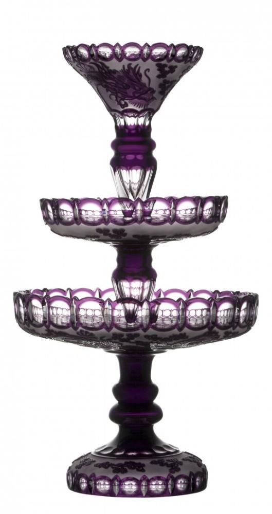 Krištáľový poschodový stojan Drak, farba fialová, výška 590 mm