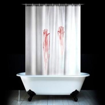Krvavý záves do kúpeľne Spinning Hat 180x180cm