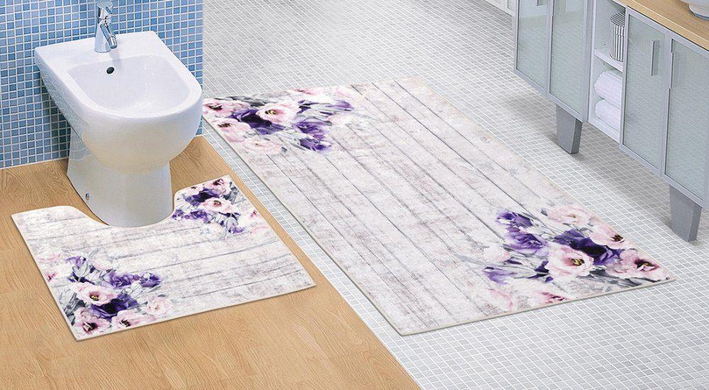 Kúpeľňová a WC predložka Fialová kytica 3D