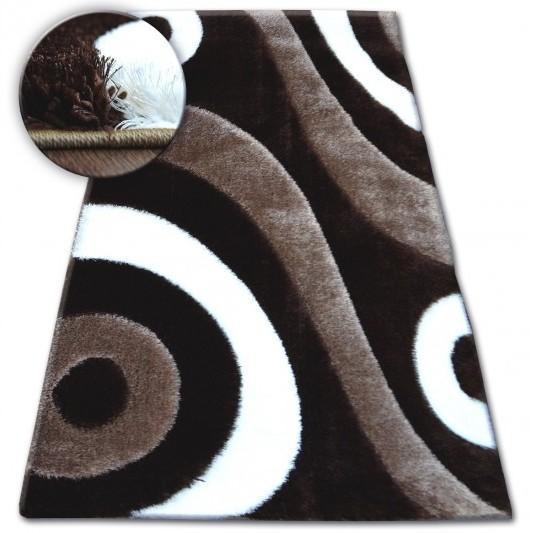 Kusový koberec Shaggy SPACE 3D CRAIG tmavohnedý