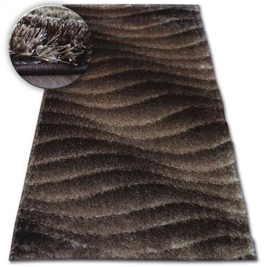 Kusový koberec Shaggy SPACE 3D KYLEE tmavohnedý