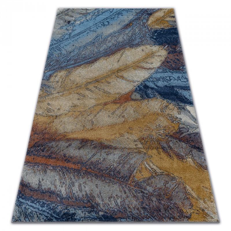 Kusový koberec SOFT FEATHER žlto-modrý