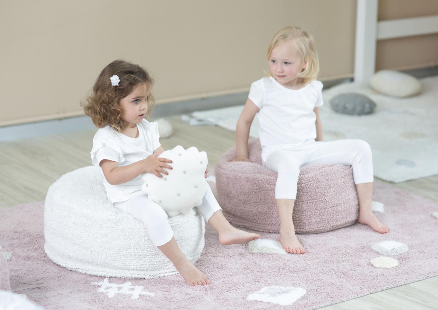 LC Bavlnený puf na sedenie - sivá
