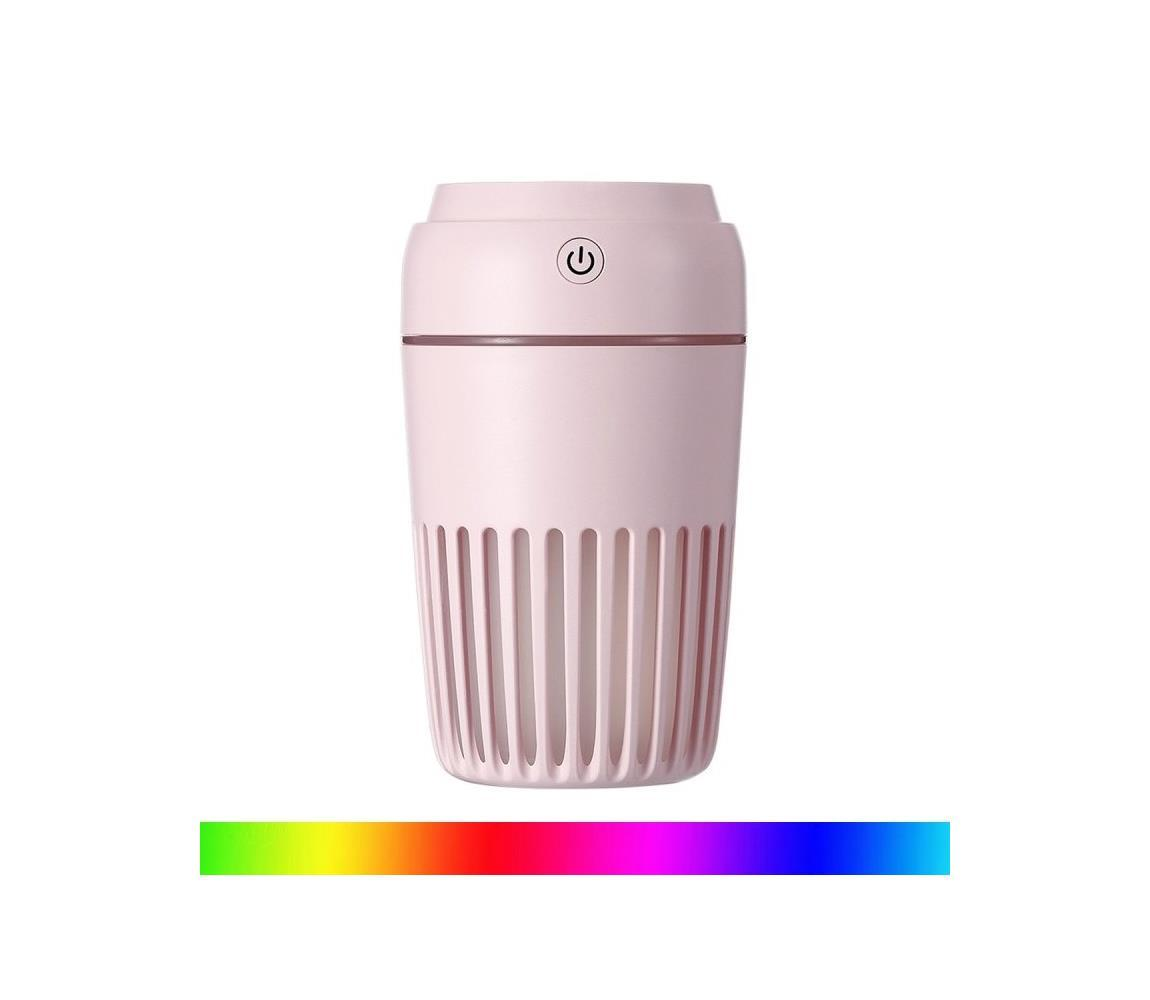 LED RGB Zvlhčovač vzduchu 300 ml LED/2W/5V ružová
