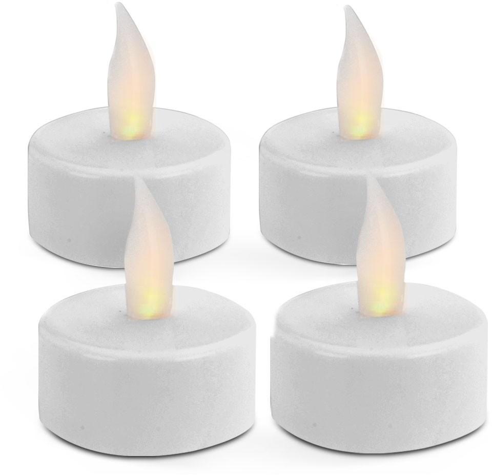LED sviečka TEALIGHT 4 kusy biela