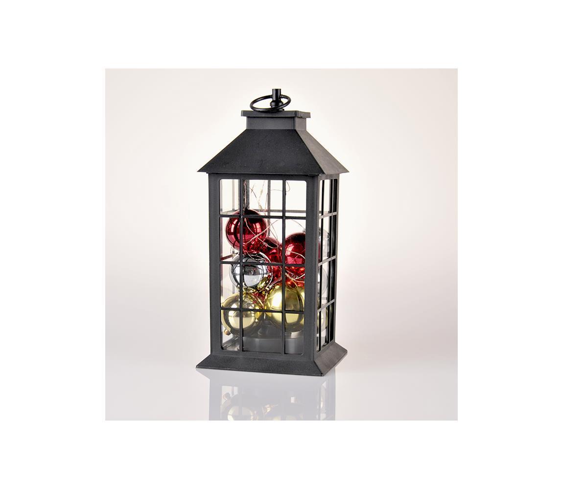 LED Vianočná dekorácia LED/3xAAA lucerna čierna banky