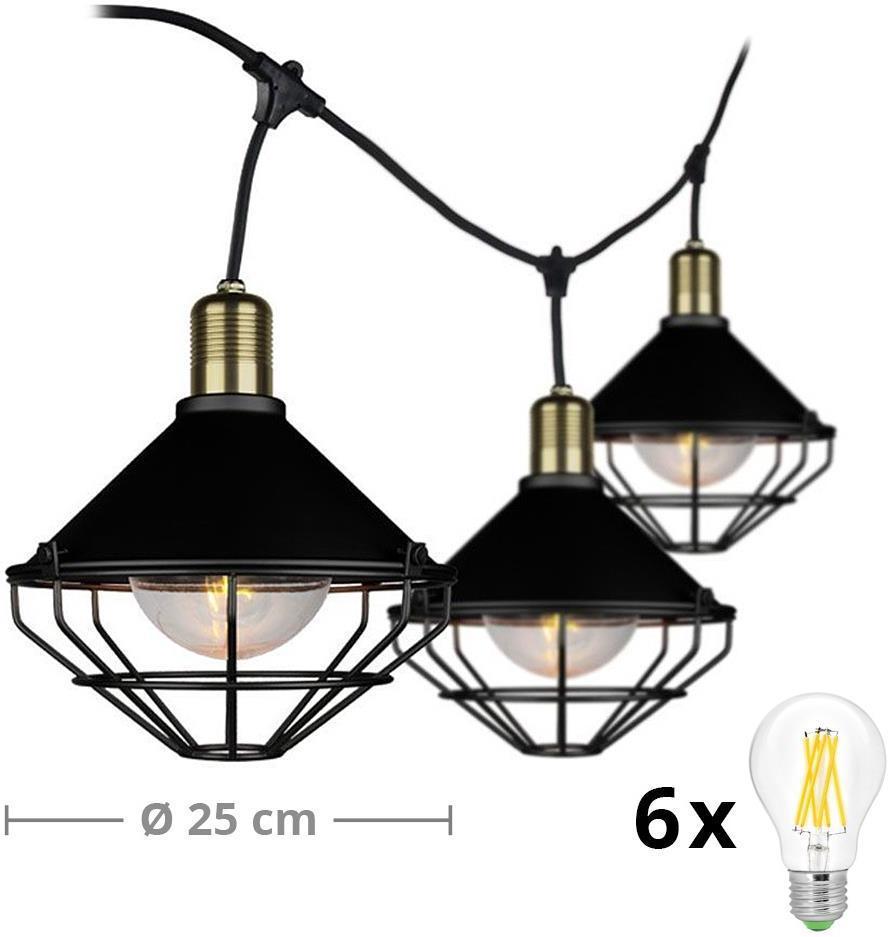 LED Záhradné závesné svietidlo PREMIUM STRING 3m 6xE27/10W/230V IP65 čierna