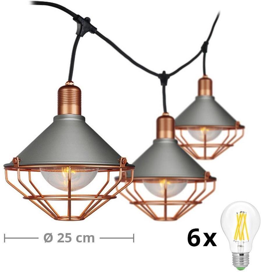 LED Záhradné závesné svietidlo PREMIUM STRING 3m 6xE27/10W/230V IP65 šedá/bronz