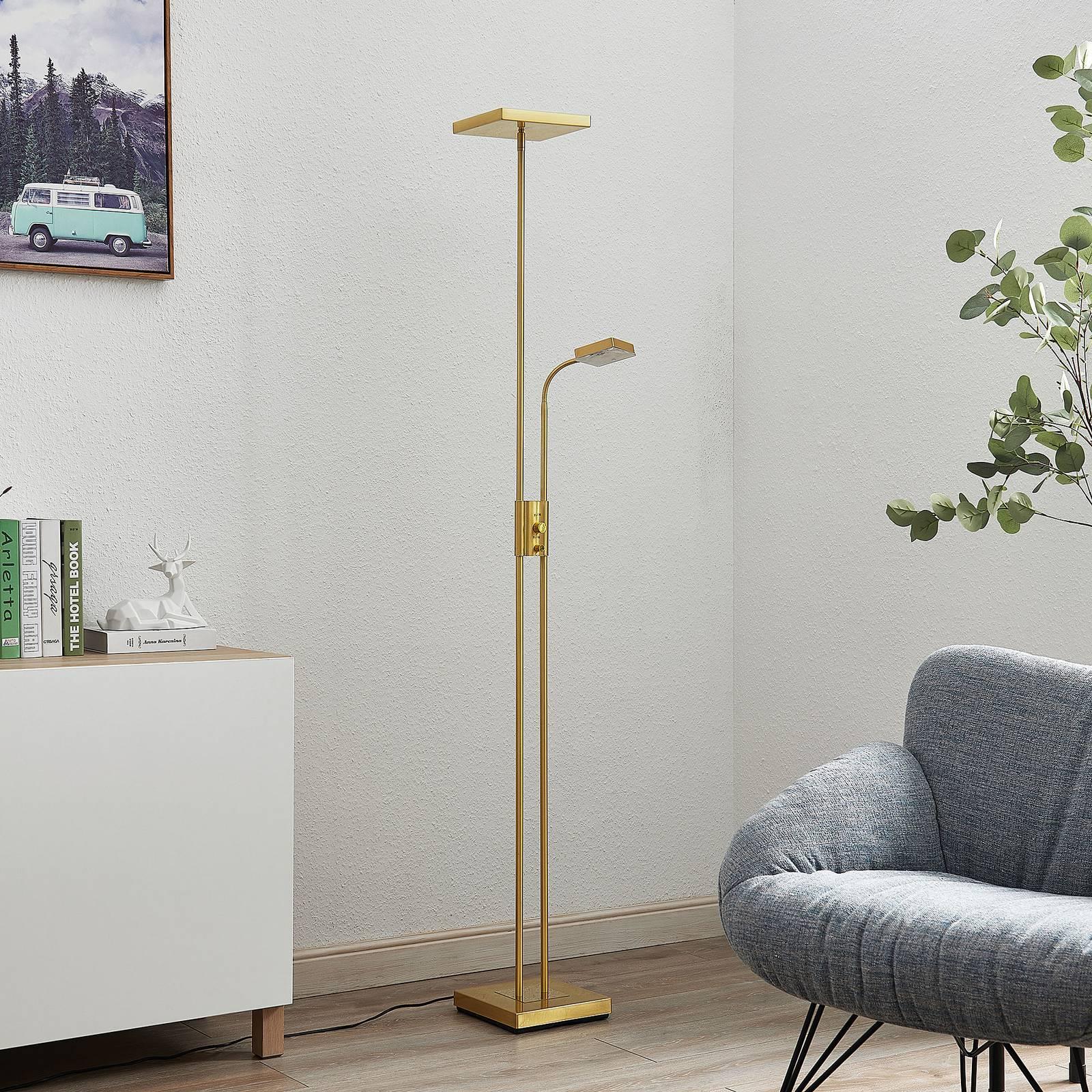 Lindby Lindby Seppa LED stojaca lampa, hranatá, mosadz