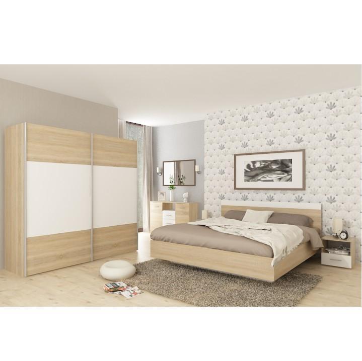 Ložnicový komplet (postel 180x200 cm), dub wotan / bílá, GABRIELA 0000209921 Tempo Kondela Dub wotan