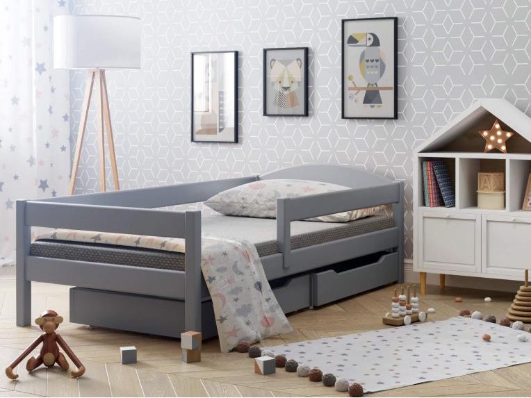 LU Detská posteľ Lipa so zábranou - sivá Rozmer: 200x90
