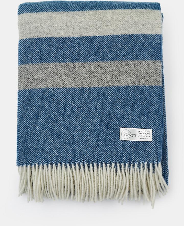 Luxusná vlnená deka Stripe modrá