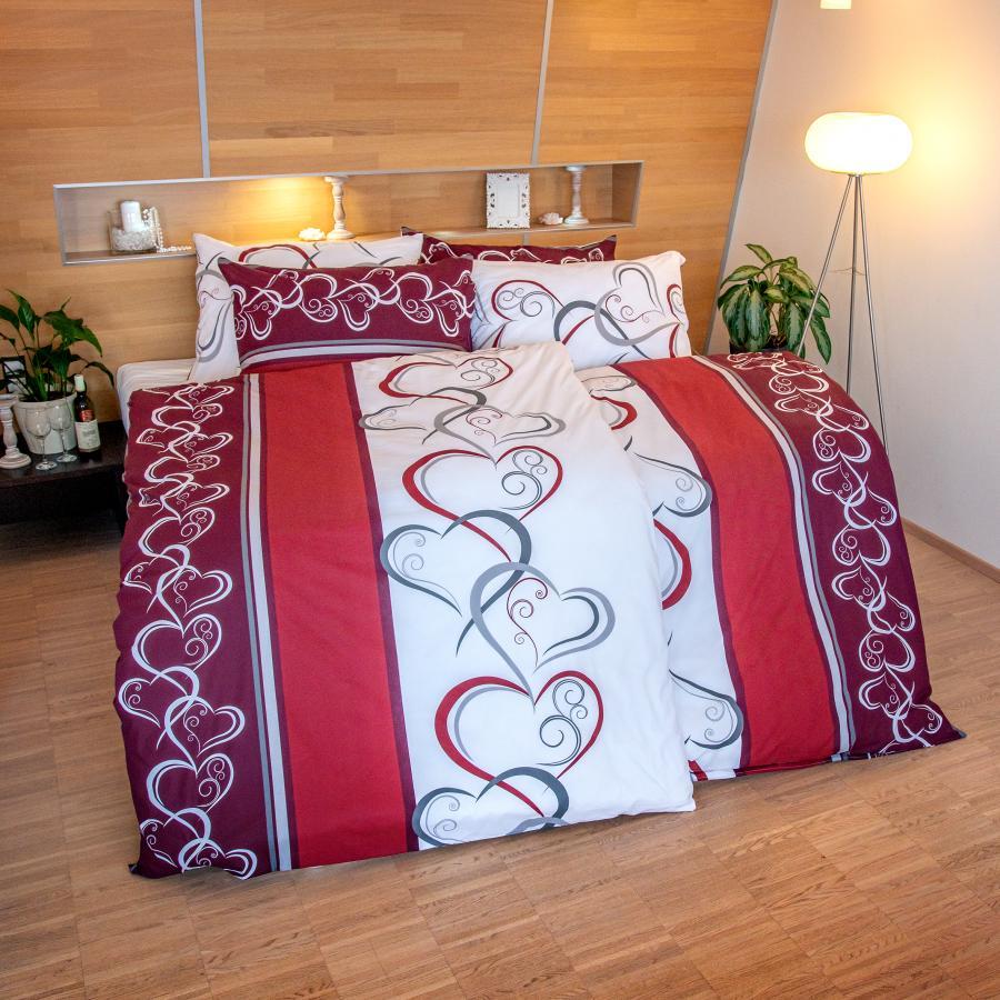 Luxusné obliečky Srdcia bordové 140x200/70x90 cm