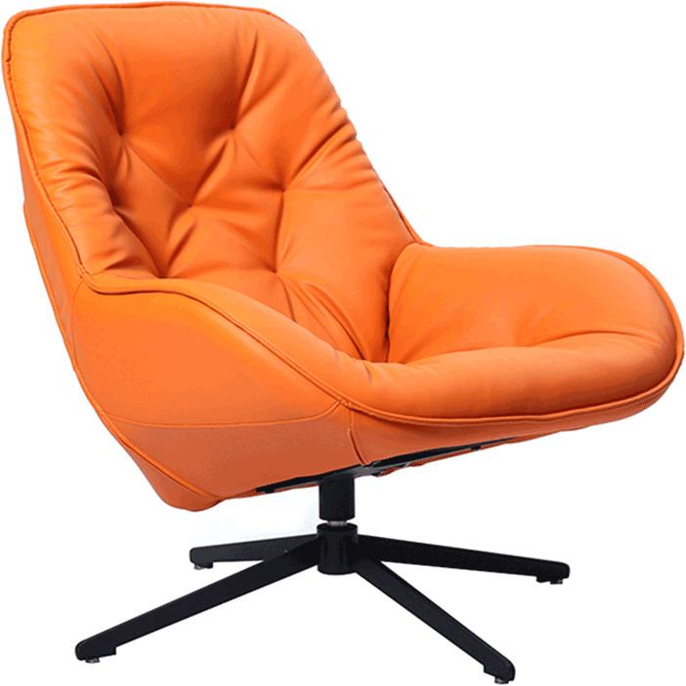 Luxusné otočné kreslo, ekokoža oranžová/kov, JAELYN