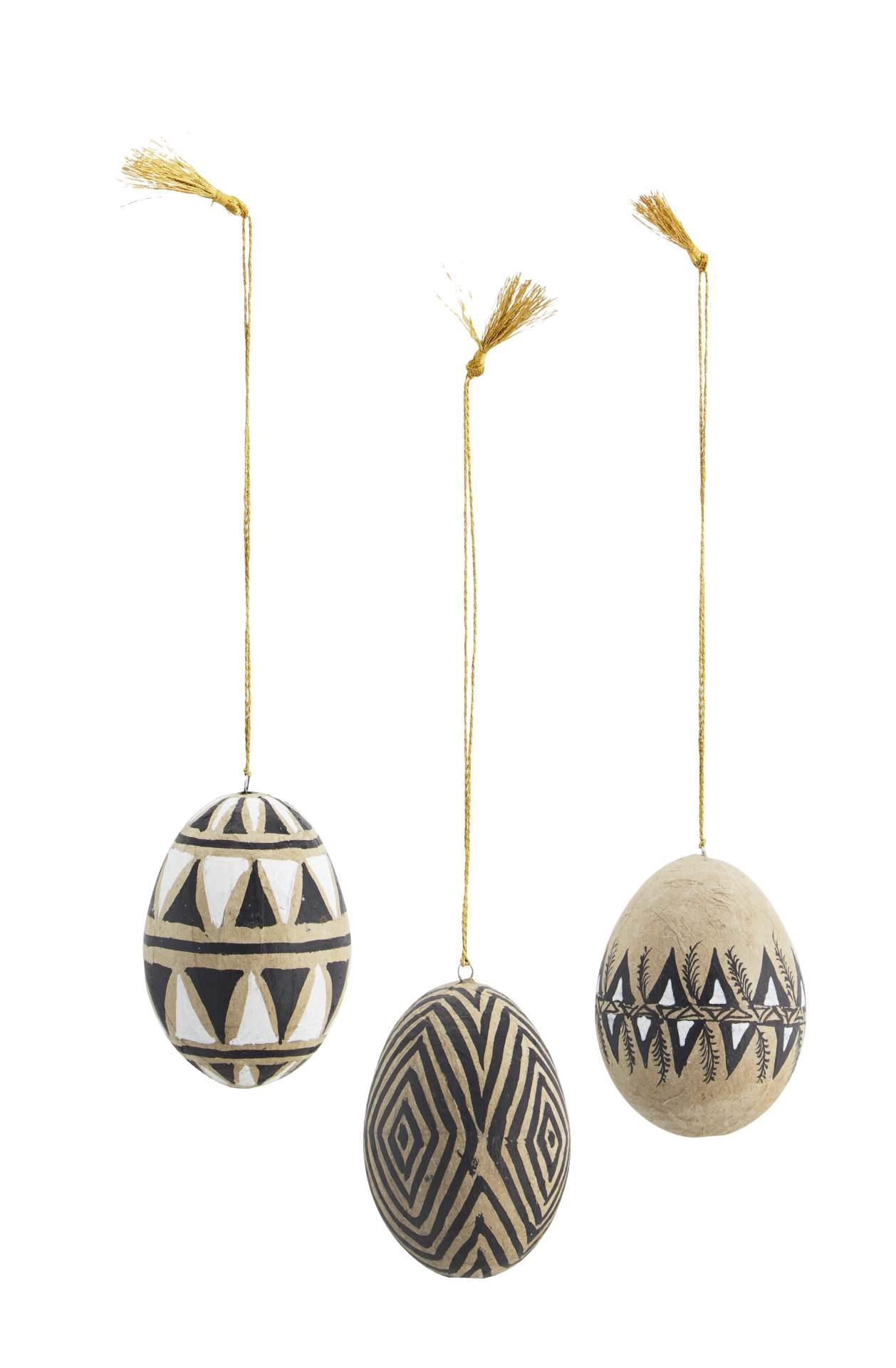 MADAM STOLTZ Veľkonočné vajíčko Paper Mache Natural - Set 3 ks