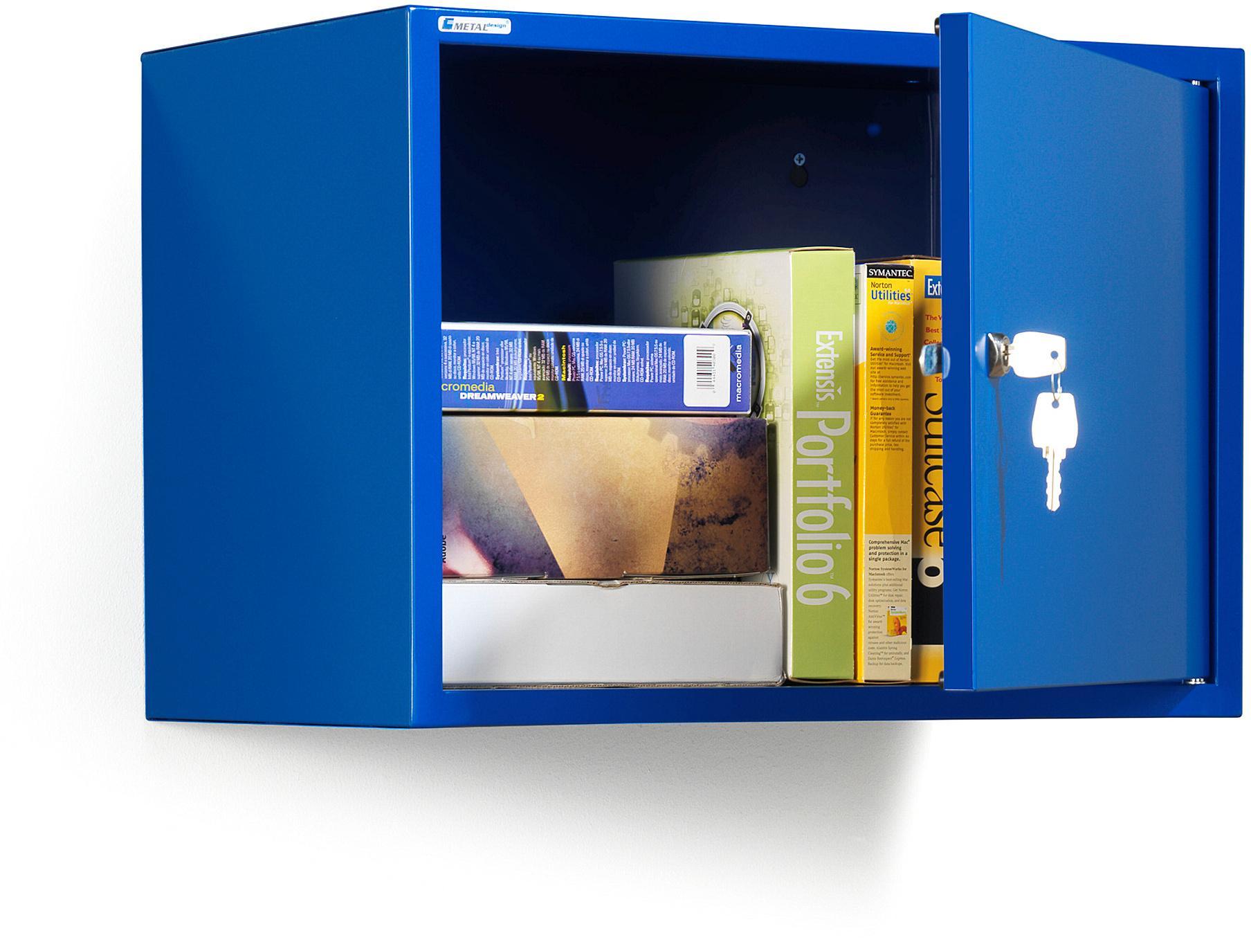 Malá kovová skrinka, 380x550x340 mm, modrá