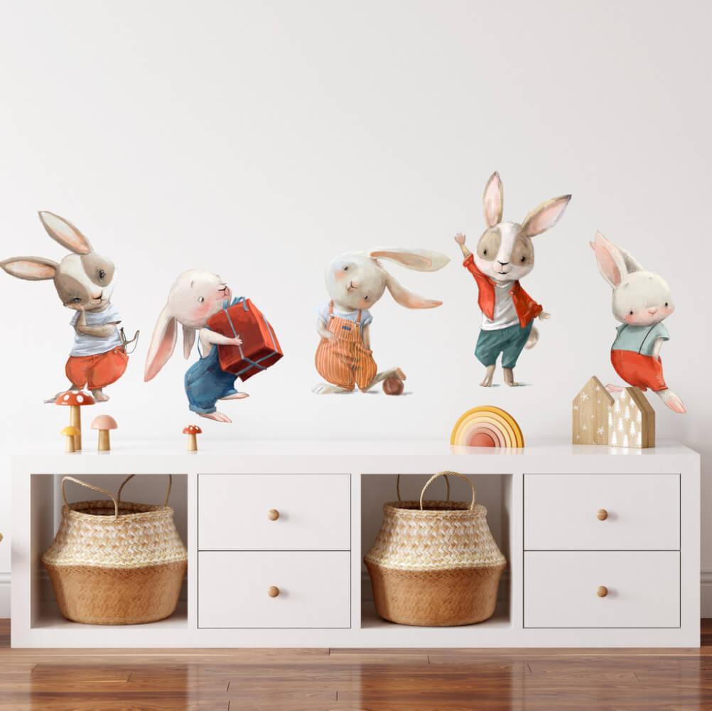 Malí zajkovia z rozprávkova - akvarelové nálepky na stenu