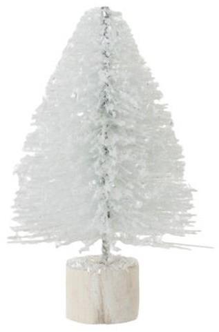 Malý biely trblietavý vianočný stromček - 14 cm