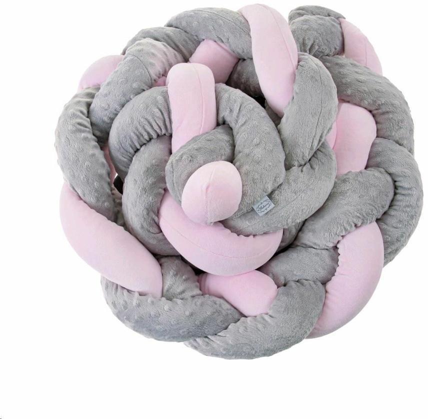 Mantinel do postieľky vrkoč Belisima sivo ružový