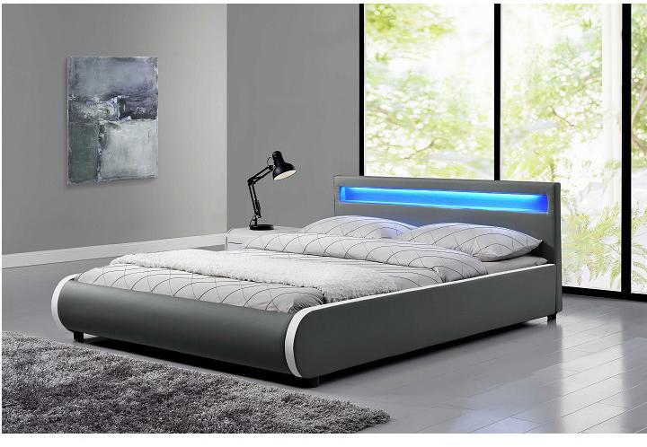 Manželská posteľ 180 cm Krunt (s roštom a osvetlením)