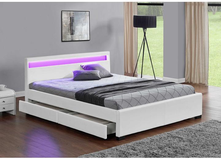Manželská posteľ 180 cm Miss (s roštom, osvetlením a úl. priestorom)
