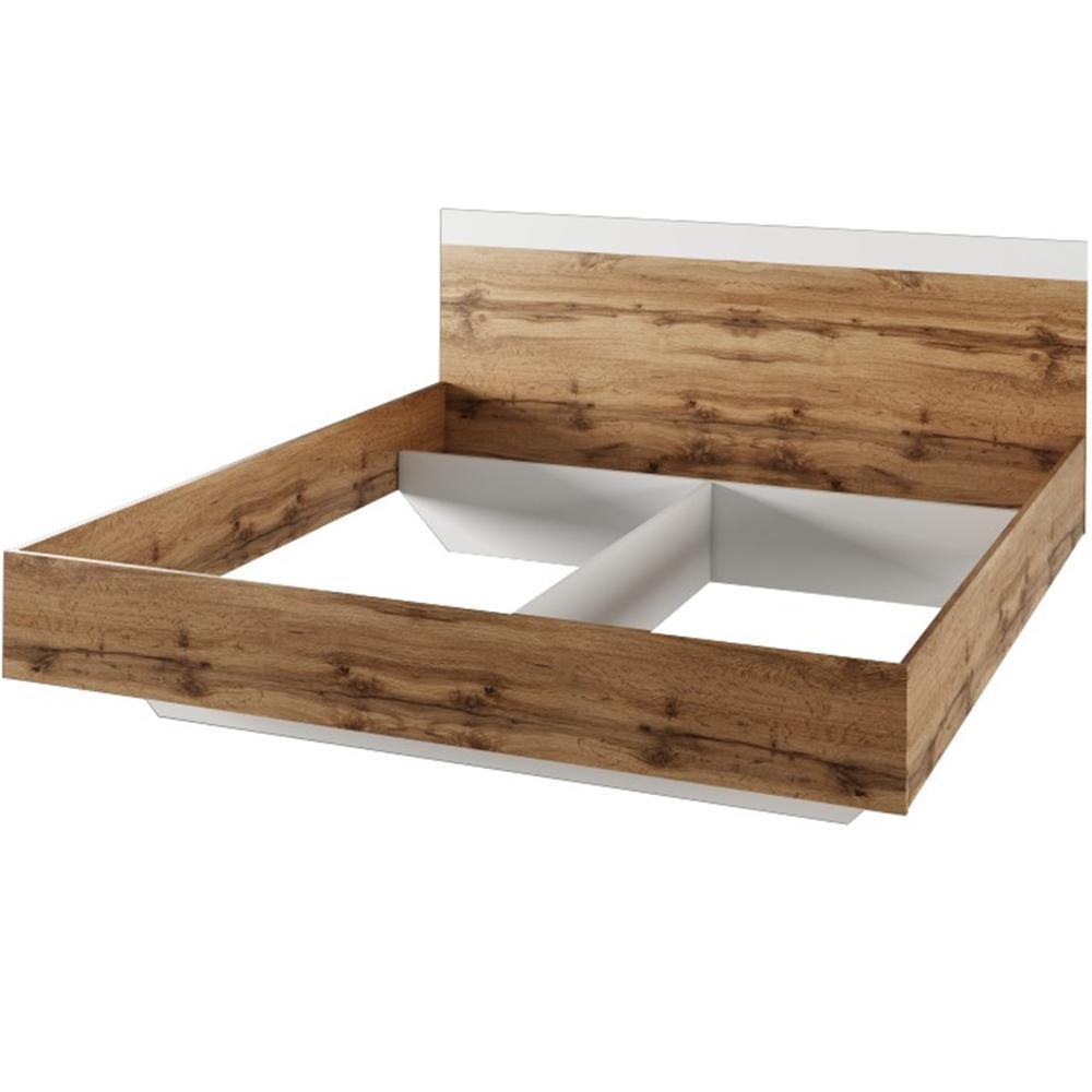 Manželská posteľ, 180x200, dub wotan/biela, GABRIELA