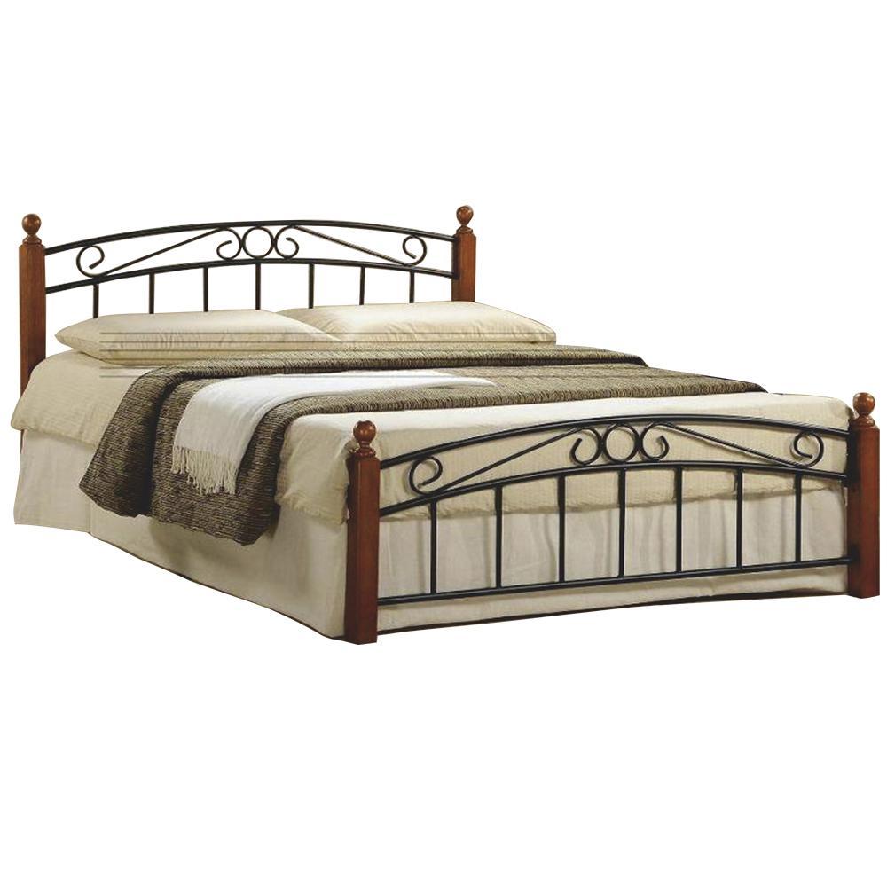 Manželská posteľ, čerešňa/čierny kov, 180x200, DOLORES